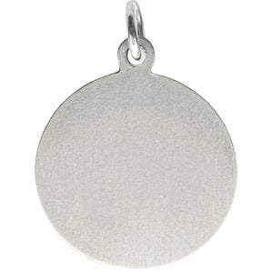 Rhodium-Plated Sterling Silver Spanish St. Lucy Medal Pendant (21X19MM)