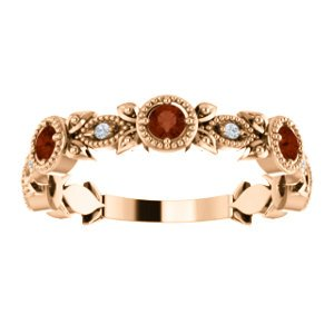 Mozambique Garnet and Diamond Vintage-Style Ring, 14k Rose Gold (0.03 Ctw, G-H Color, I1 Clarity)