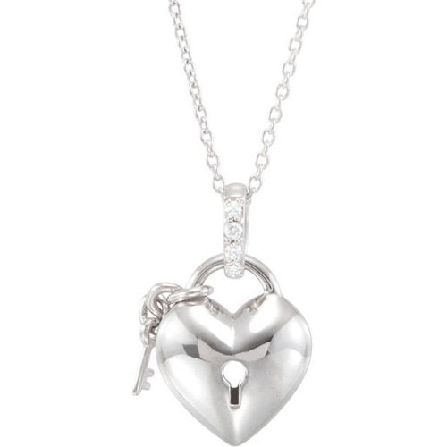 Sterling Silver Diamond Heart Lock and Key Necklace, 18""