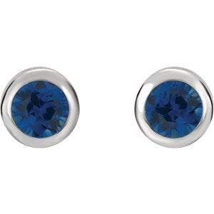 Simulated September Birthstone CZ Solitaire Stud Earrings, Rhodium-Plated Sterling Silver