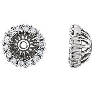 Platinum Diamond Cluster Earring Jackets (4.1MM) (0.16 Ctw, G-H Color, SI2-SI3 Clarity)