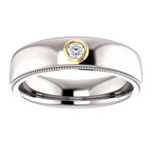 Men's Rhodium-Plated 14k White Gold Diamond and 14k Yellow Gold 6mm Milgrain Band (.03 Ctw, Color G-H, SI2-SI3 Clarity) Size 10.75