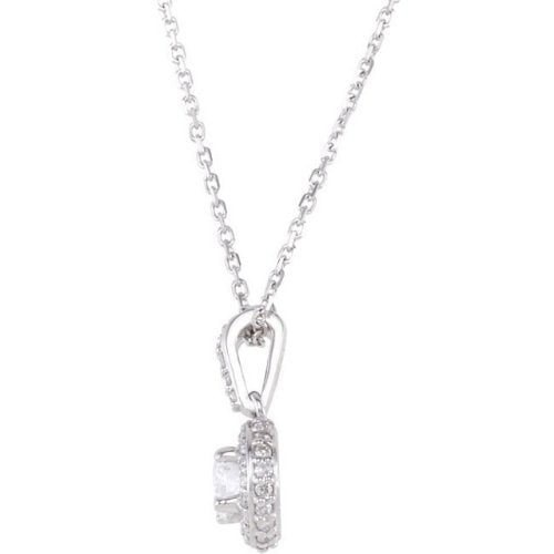"Diamond Halo Necklace, Rhodium-Plated 14k White Gold, 18"" (0.5 Ctw, Color G-H, Clarity I1)"