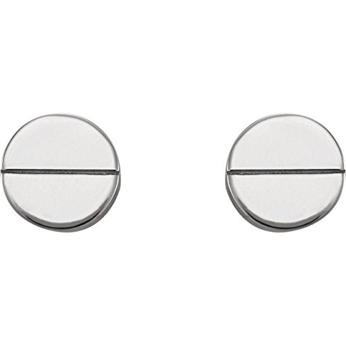 Geometric Stud Earrings with Backs, Rhodium-Plated 14k White Gold