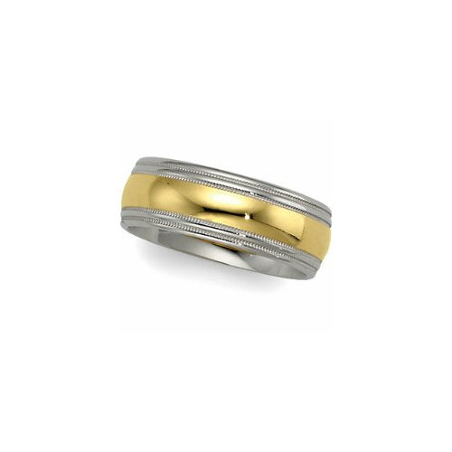 8mm 14k White and Yellow Gold Two-Tone Comfort-Fit Double Milgrain Band, Sizes 6 to 14.5
