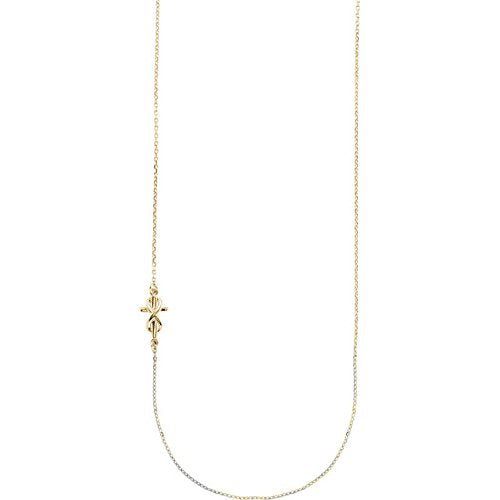 "Infinity Sideways Cross 14k Yellow Gold Necklace, 16"" and 18"""