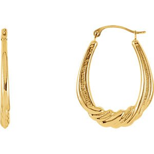 Oval Twisted Crescent Hoop Earrings, 14k Yellow Gold