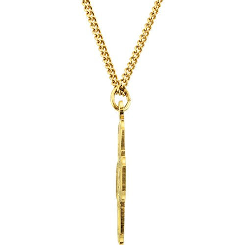 "Sterling Silver 24k Yellow Gold Plated Four-Way Medal Necklace, 24"" (34.51x28.96 MM)"