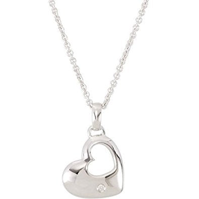 Sterling Silver Heart in a Heart Diamond Necklace, 18""