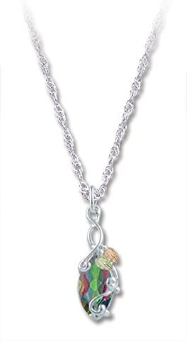Marquise Mystic Fire Topaz Pendant Necklace, Sterling Silver, 12k Green and Rose Gold Black Hills Gold Motif, 18''