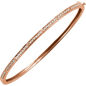 "Petite Diamond Bangle Bracelet, 14k Rose Gold, 7"" (.33 Cttw, HI Color, I1 Clarity)"