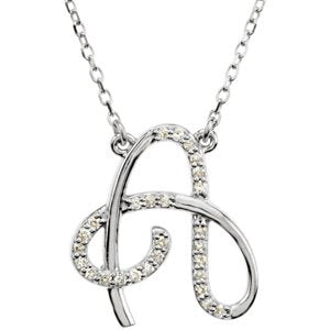 "Sterling Silver Alphabet Initial Letter A Diamond Necklace, 17"" (1/8 Ct, GH Color, I1)"
