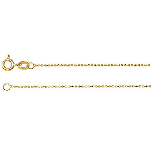 14k Yellow Gold 1mm Solid Diamond-Cut Bead Chain, 24""