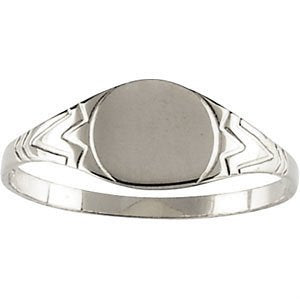 Childrens Sterling Silver Youth Round Signet Ring, Size 3