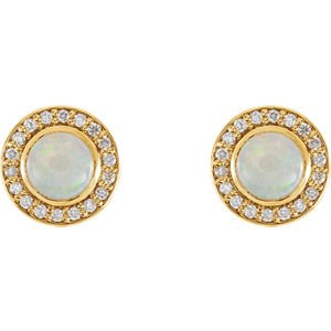 Opal and Diamond Halo-Style Earrings, 14k Yellow Gold (6MM) (.2 Ctw, G-H Color, I1 Clarity)