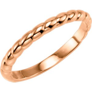 Rope Trimmed Stackable 2.5mm 14k Rose Gold Ring