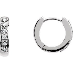 Diamond Hoop Earrings, 14k White Gold (1/10 Ctw, Color GH, Clarity SI1)