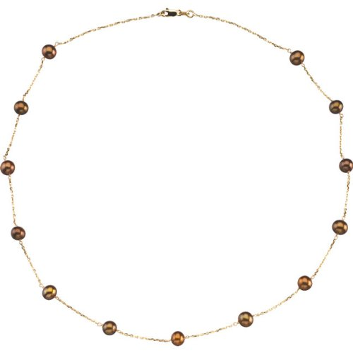 14k Yellow Gold Freshwater Dyed Chocolate Cultured Pearl Station Necklace and Bracelet