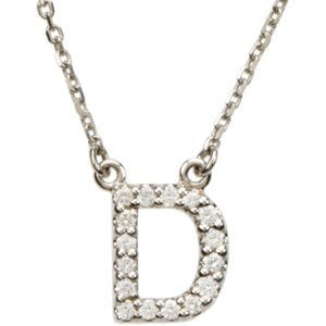 "14k White Gold Diamond Alphabet Letter D Necklace (1/6 Cttw, GH Color, l1 Clarity), 16.25"" to 18.50"""