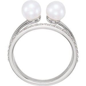 White Freshwater Cultured Pearl and Diamond Two-Stone Ring, Rhodium-Plated 14k White Gold (5.50-6.00 MM) (.2 Ctw, G-H Color, I1 Clarity), Size 7.25