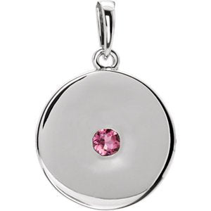 Round Pink Tourmaline Disc Pendant, Sterling Silver