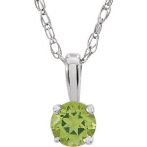 Children's Peridot Birthstone 14k White Gold Pendant Necklace, 14""