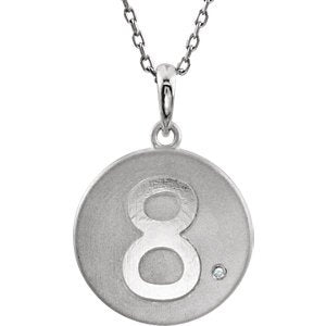 "Diamond Number '8' Sterling Silver Pendant Necklace, 18"" (.005 Cttw)"