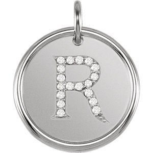 "Diamond Initial ""R"" Necklace, Sterling Silver 18"" (0.1 Ctw, Color GH, Clarity I1)"