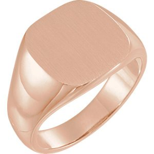 Men's Open Back Brushed Signet Semi-Polished 10k Rose Gold Ring (14mm) Size 10