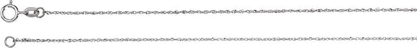 .50mm Rhodium-Plated 14k White Gold Diamond Cut Singapore Chain, 16""