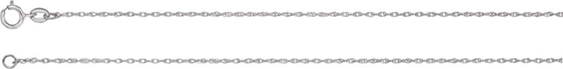 Platinum 1 mm Solid Rope Chain, 16""