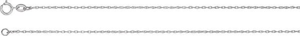 1 mm Rhodium-Plated 18k White Gold Solid Rope Chain, 16""