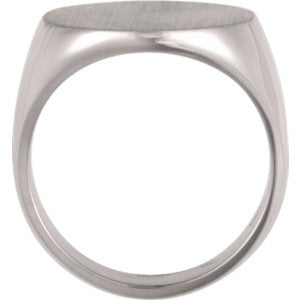 Platinum Men's Closed Back Brushed Signet Semi-Polished Ring, (18 mm) Size 11