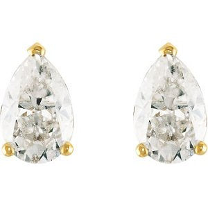 2 Cttw Charles and Clovard 14k Yellow Gold Moissanite Pear Solitaire Earrings