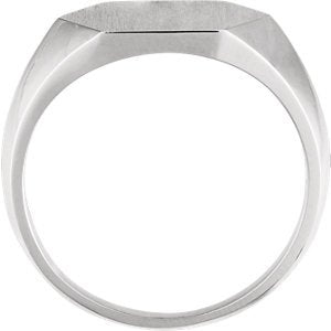 Men's Platinum Brushed Hexagon Signet Ring (14mm)