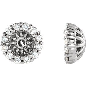 Platinum Diamond Cluster Earring Jackets (3.6MM) (0.125 Ctw, G-H Color, SI2-SI3 Clarity)