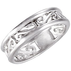 5.75mm Sterling Silver Scroll Design Fashion Band, Size 8