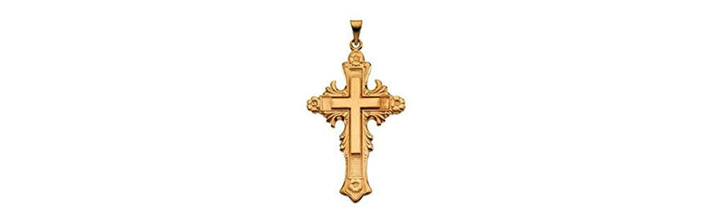 Large Fancy Cross 14k Yellow Gold Pendant