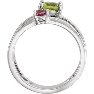 Platinum Peridot and Pink Tourmaline Two-Stone Ring, Size 6
