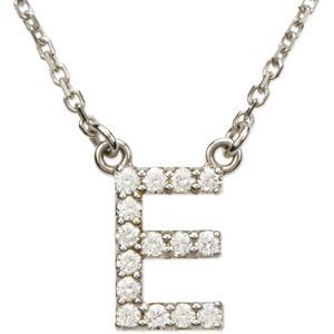 "14k White Gold Diamond Alphabet Letter E Necklace (1/6 Cttw, GH Color, l1 Clarity), 16.25"" to 18.50"""