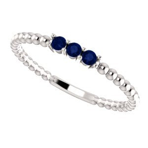 Chatham Created Blue Sapphire Beaded Ring, Sterling Silver, Size 6