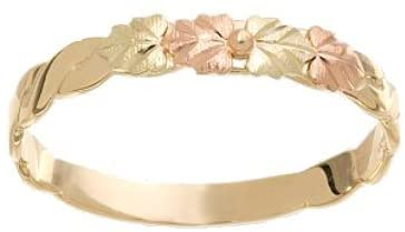 Slim Profile Leaf Band, 10k Yellow Gold, 12k Pink and Green Gold in Black Hills Gold Motif