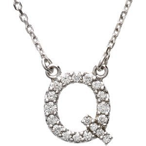 "14k White Gold Diamond Alphabet Letter Q Necklace (1/6 Cttw, GH Color, l1 Clarity), 16.25"" to 18.50"""