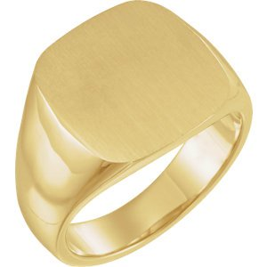 Men's Closed Back Square Signet Ring, 18k Yellow Gold (16mm)