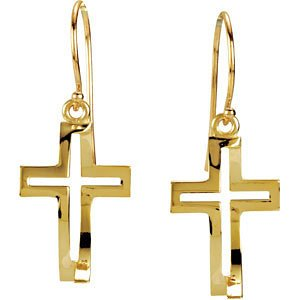 14k Yellow Gold Cross Fish Earrings