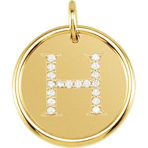 "Diamond Initial ""H"" Round Pendant, 18k Yellow Gold-Plated Sterling Silver (0.1 Ctw, Color GH, Clarity I1)"