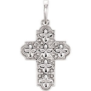 Ornate Floral-Inspired Cross Sterling Silver Pendant (17.80X13.70 MM)