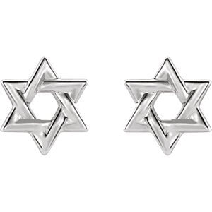 Star of David Rhodium-Plated 14k White Gold Stud Earrings (9.50X9.50 MM)