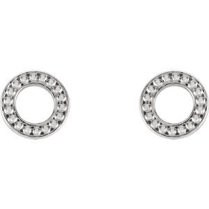 Platinum Circle Beaded Stud Earrings