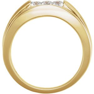 Men's 6-Stone Diamond Ring, 14k Yellow Gold (.5 Ctw, HIJ Color, SI2-I1 Clarity) Size 10